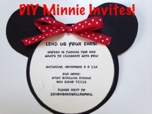 DIY Minnie Mouse Invitations Inspired parties